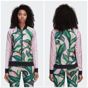 adidas Palm Leaf Pink & Green Track Jacket